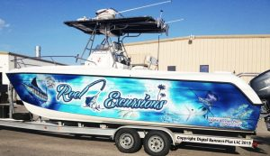 attractive custom boat wrap design